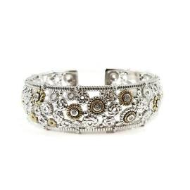 Judith Ripka Sterling Silver 18K Yellow Gold Wide Garland Cuff Bracelet with Diamond Accents