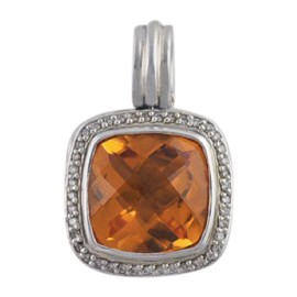 David Yurman Sterling Silver & Orange Citrine Pendant