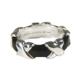 Tiffany & Co. 925 Sterling Silver with Black Enamel Signature X Band Ring Size 5