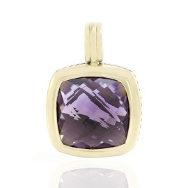 David Yurman Albion 925 Sterling Silver & 18K Yellow Gold Amethyst Pendant