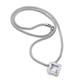 David Yurman 18K White Gold Chalcedony Diamond Necklace