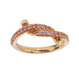 Cartier 18K Rose Gold Entrelaces Pink Sapphire Ring Size 4.25