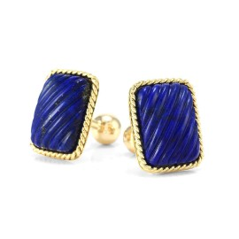 Tiffany & Co. 18K Yellow Gold & Lapis Lapis Cufflinks