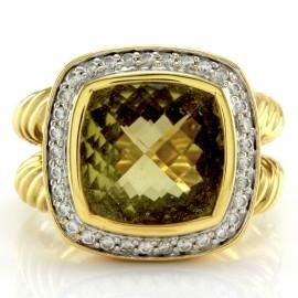 Yurman Albion Lemon Quartz Diamond Ring in Gold
