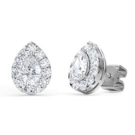 1.50 Ct Pear Shape Lab-Grown Diamond Halo Earrings set in 14K White Gold