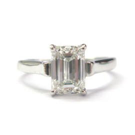 Tiffany & Co. Platinum Emerald Cut Diamond Engagement Ring
