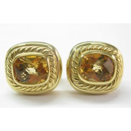David Yurman 18K Y/G & Citrine Square Huggie Earrings