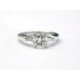 Tiffany & Co. Platinum Lucida & Baguette Diamond Engagement Ring