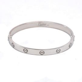 Cartier 18k White Gold Love Bangle Bracelet Size 19