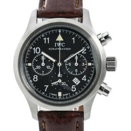 IWC Pilot IW3741-01 Mens Quartz Watch Chronograph Black Dial SS 36mm