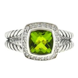 David Yurman Petite Albion Peridot Diamond Sterling Silver Ring