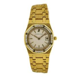 Audemars Piguet Royal Oak 66270BA.OO.1100BA.04 Diamond Bezel 18K YG Watch 25mm
