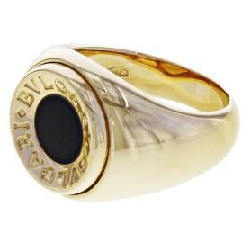 Bulgari 18K Yellow Gold Onyx, Diamond Ring Size 5.5