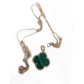Van Cleef & Arpels Magic Alhambra 18K Yellow Gold & Malachite Necklace
