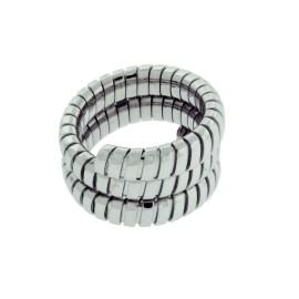 Bulgari Tubogas 18K White Gold Ring Size 7