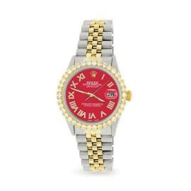 Rolex Datejust 36mm 2-Tone WATCH/3.10ct Diamond Bezel/Scarlet Red Roman Dial