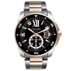 Cartier Calibre Diver Steel Rose Gold Black Dial Mens Watch W7100054 Box Papers