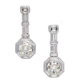 950 Platinum with 5.14ct Diamond Dangle Earrings