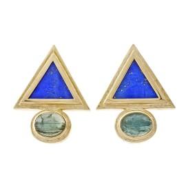 14K Yellow Gold Lapis Triangle Tourmaline Earrings