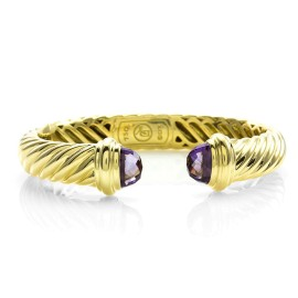 David Yurman 18K Yellow Gold Amethyst Cable Classics Bracelet