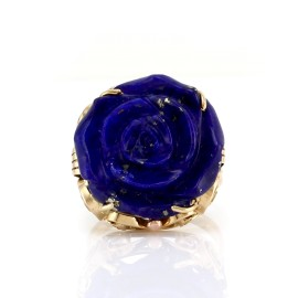 14K Yellow Gold Carved Lapis Rose Ring Size 8