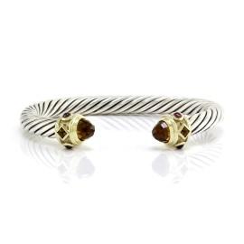 David Yurman Renaissance Sterling Silver & 14K Yellow Gold Citrine & Garnet Bracelet