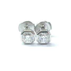 Tiffany & Co Platinum Lucida Diamond Bezel Set Stud Earrings