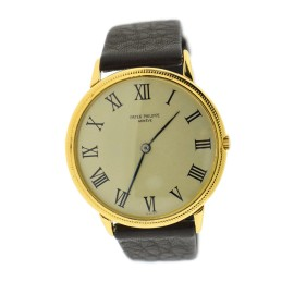 Patek Philippe Calatrava 3758J 18K Yellow Gold / Leather 36mm Mens Watch