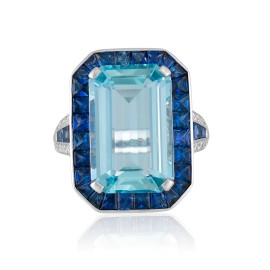 Roberto Coin Art Deco 18k White Gold Blue sapphire, aquamarine Ring
