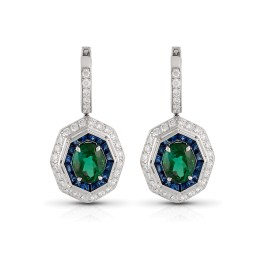 Roberto Coin Art Deco 18k White Gold Green tourmaline, blue sapphire Earrings