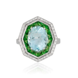 Roberto Coin Art Deco 18k White Gold Aquamarine, green tsavorite garnet Ring