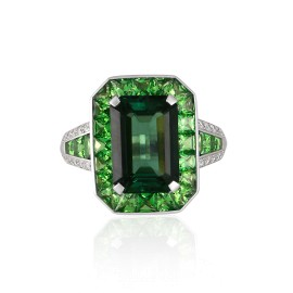 Roberto Coin Art Deco 18k White Gold Green tourmaline, green tsavorite garnet Ring