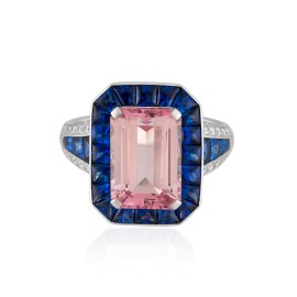 Roberto Coin Art Deco 18k White Gold Pink tourmaline, blue sapphires Ring