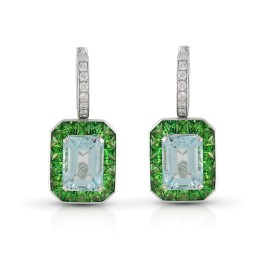 Roberto Coin Art Deco 18k White Gold Aquamarine, green tsavorite Earrings