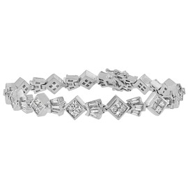 14K White Gold 7.16ct TDW Princess and Baguette Cut Diamond Crown Link Bracelet