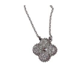 Van Cleef & Arpels Alhambra 18K White Gold & Diamond Pendant Necklace