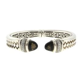 Scott Kay Sterling Silver Diamond & Smokey Quartz Braided Hinged Bangle Bracelet