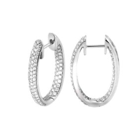 18K White Gold with 0.87ct Pave Diamond Hoops Earrings