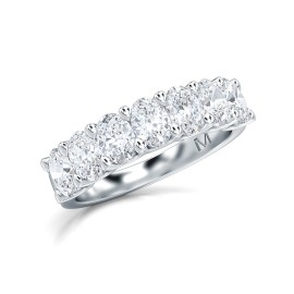 1.50 Ct Oval Cut Lab Grown Diamond Seven Stone Band Ring in 14K White Gold (E-F, VS1-VS2, 1.50 cttw) by MadeForUs