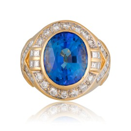 Le Vian Certified Pre-Owned Blueberry Tanzanite and Vanilla Dimaonds Ring set in 18k Honey Gold