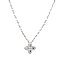 Roberto Coin 18K White Gold Princess Flower Pendant Necklace