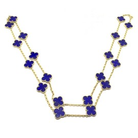 Van Cleef & Arpels 18K Yellow Gold Alhambra 20 Motif Lapis Lazuli Necklace