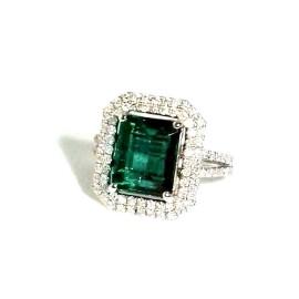 18K White Gold 4.20ct Emerald & 1.00ct Diamond Ring Size 7.5