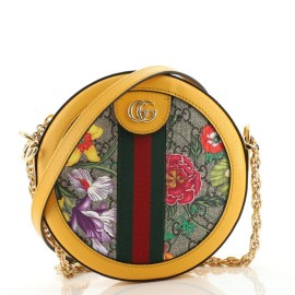 Gucci Ophidia Round Shoulder Bag Flora GG Coated Canvas Mini