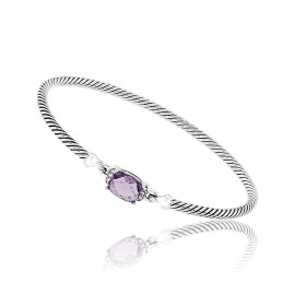 David Yurman 925 Sterling Silver Amethyst Diamond Bracelet