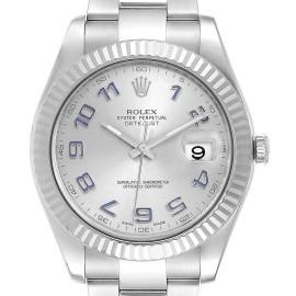 Rolex Datejust II 41mm Steel White Gold Blue Numerals Mens Watch 116334