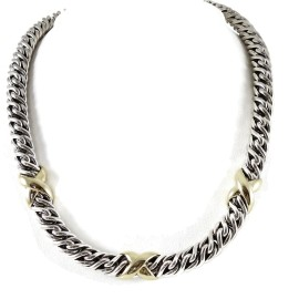 David Yurman Sterling Silver 18K Yellow Gold Lyrica XXX Necklace