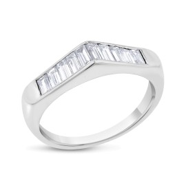 14k White Gold 0.90ct. Diamond Baguette Peaked Wedding Band Size 6.5