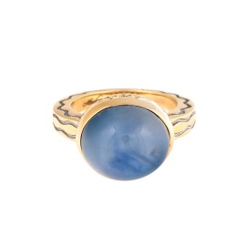 18K Yellow Gold Blue Star Sapphire Talasi Ring