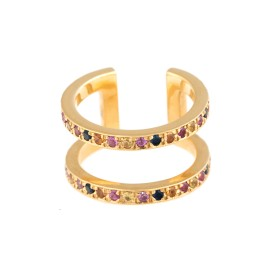 18K Yellow Gold Multicolored Sapphires Korali Ring